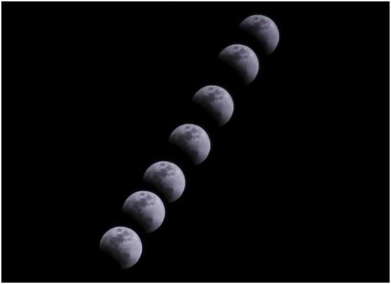 遥感所研究生马晓辉拍摄的初亏阶段的月全食